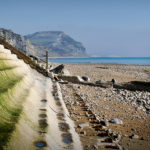 'The steps' coastal defence with Golden Cap