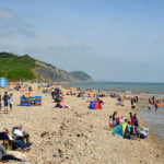 Charmouth beach on a busy day