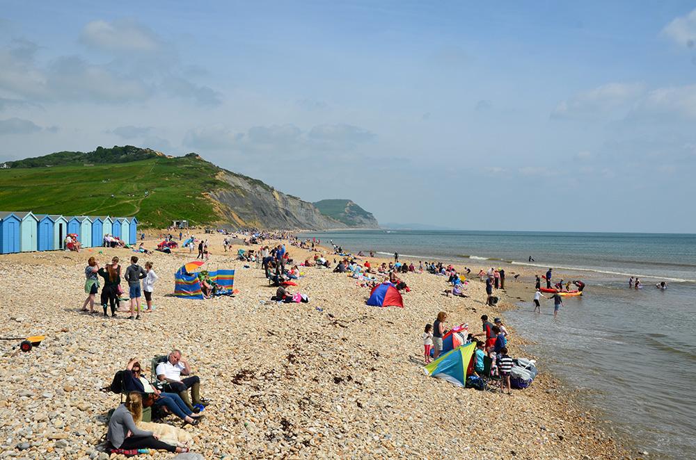 Charmouth beach on a busy day
