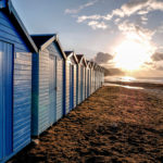 Charmouth beach huts at dawn