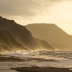 Charmouth beach and Golden Cap at dawn