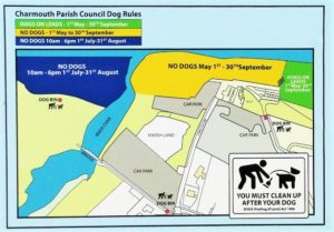 Map showing Charmouth beach dog policy
