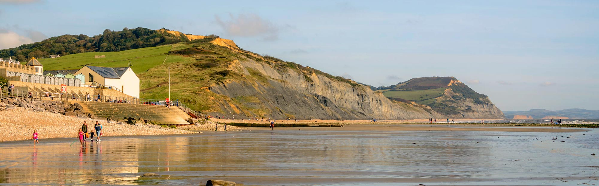 East Beach Charmouth with Heritage Coast Centre in foreground